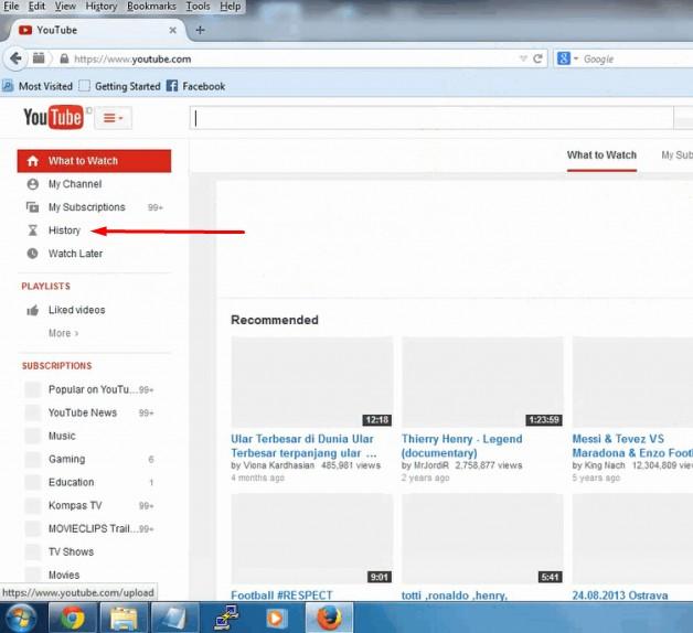 cara menghapus riwayat pencarian di youtube